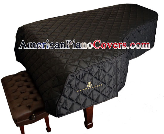 black quilted steinway grand piano cover
