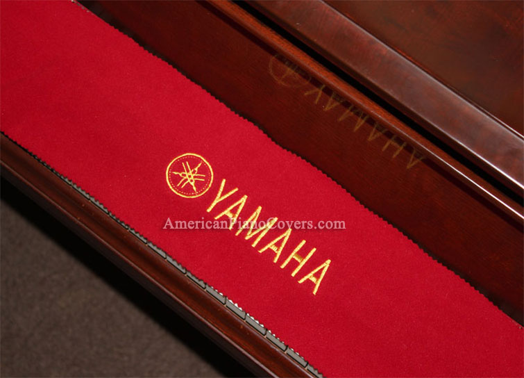 Yamaha piano key cover red felt embroidery for Yamaha upright piano cover